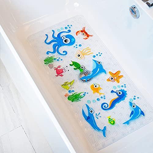BeeHomee Bathtub Mat for Kids – 35″x16″ – Machine Washable