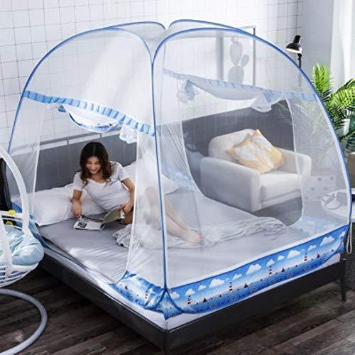 FimQB Summer Bi Parting Mesh Insektennetze Folding Mosquito NetFor Kinder Studenten Etagenbett Günstige Erwachsene Doppelbett Netting Zelt, Blau, 1,8 m (6 Fuß) Bett