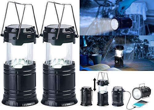 Semptec Urban Survival Technology Solar Camping Leuchte: 2er Pack 3in1-Solar-LED-Camping-Laterne, Handlampe & USB-Notlader (Camping Lantern)