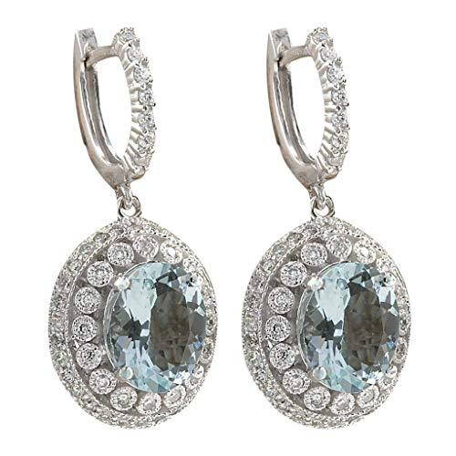 Mypace Creolen hängende Ohrringe Für Damen Mode Frauen Aquamarin Edelstein Braut Ohrstecker Hoop Baumeln Ohrring