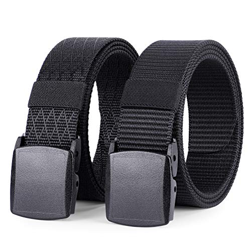 WHIPPY 2 Pack Nylon Belt Outdoor Military Web Belt with YKK Plastic Buckle Men Tactical Webbing Belt 1.5 Inches Width Black, Fit Pants Below 40 Inches