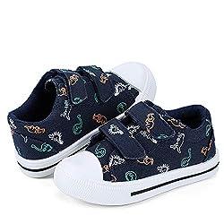 6. nerteo Navy Toddler Dinosaur Canvas Sneakers