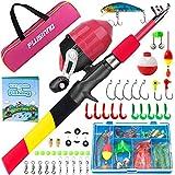PLUSINNO Kids Fishing Pole, Starter Fishing Kit, Portable Telescopic Fishing Rod and Reel Combo Kit...