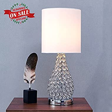 GLANZHAUS Fashion Style Silver Base White Lampshape Crystal Lamps, 19 H Living Room and Bedroom Table Lamps
