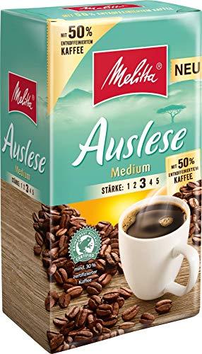Melitta Gemahlener Röstkaffee, Filterkaffee, kräftig mit 50% entkoffeiniertem Kaffee, Stärke 3, Auslese Medium, 12er Pack (12 x 500 g)
