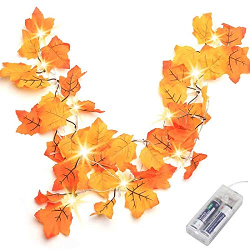 Thanksgiving Decorations Lighted Fall Garland, Thanksgiving Decor Halloween String Lights 8.2 Feet 20 LED, Thanksgiving Gift Fall Decor for Home Holiday Autumn Garland Indoor