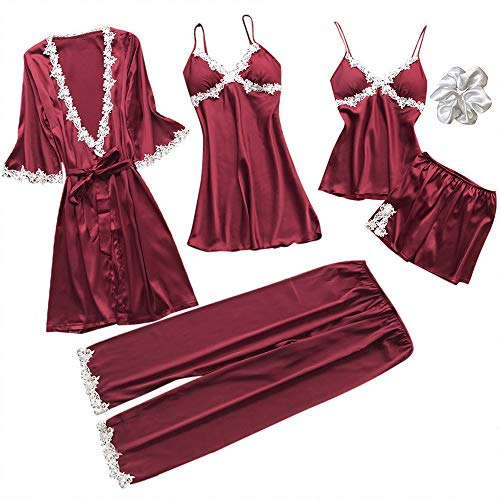 YISHEN Pijamas Saten Mujer Set 5 Piezas Encaje Ropa de Casa Conjunto Conjunto de Albornoces + Camisón+ Chaleco + Pantalones Cortos para Todos Los Climas