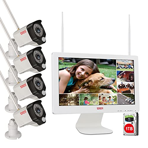 [3MP&2 Way Audio]Tonton Wireless All-in-One Ultra HD Security Camera System with 16 Inch Monitor, 8CH WiFi NVR with 1TB…
