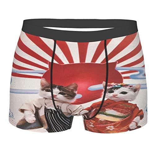 Herren-Boxershorts mit japanischer Katze, für Hochzeit, Kätzchen, weiche Unterwäsche Gr. M, Schwarz