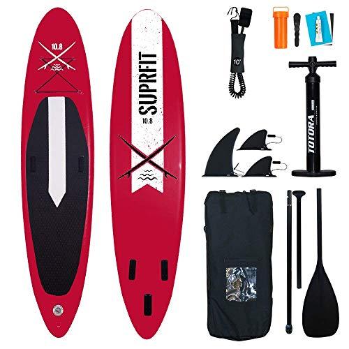 Suprfit Lailani Red SUP Board I Stand up Paddle Board I Komplettset: Paddelboard, Transporttasche, Paddel, Luftpumpe, Sicherungsleine, Reparaturset I Stabile Konstruktion mit zweifacher Schichtung