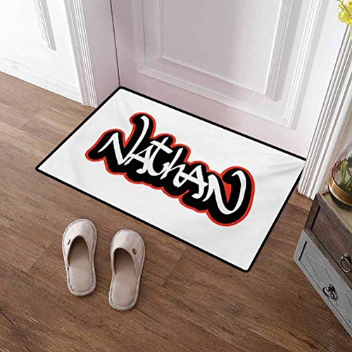 Front Door Mat Nathan Patio Outdoor Rug Artistic Boys Name Graffito Wall Writing Design for Men Doodle Style Christmas Thanksgiving Holiday Decor Rug Vermilion Black and White 16x24 Inch