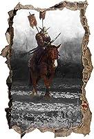 KAIASH ウォールステッカー 馬に乗った侍戦士3Dルックのディテール壁開口部壁またはドアステッカー壁ステッカー壁デカール壁装飾92x62cm