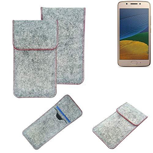 K-S-Trade® Handy Schutz Hülle Für Lenovo Moto G5 Single-SIM Schutzhülle Handyhülle Filztasche Pouch Tasche Hülle Sleeve Filzhülle Hellgrau Roter Rand