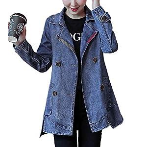 Women's Vintage Lapel Double-Breasted Mid-Long Denim Jean Jacket Coats