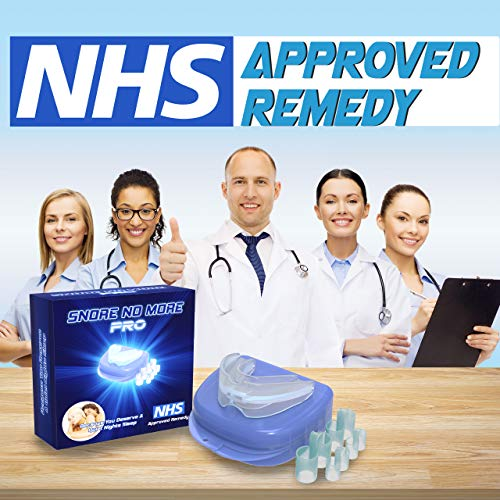 ANTI SNORE DEVICES SNORE NO MORE PRO. snoring aids for men and women . NHS APPROVED REMEDY. The Best Selling Snore Stopper In The UK. Twin Pack Snoring Aid Anti Snoring Mouthpiece And Nasal Dilators