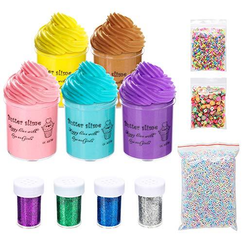 Abree DIY Fluffy Schleim Kinder Putty Spielzeug Geschenke, Floam Schleim Selber Machen mit 5 Farben Flauschige Schleim Fluffy Slime, Schaum Bälle, Obst Gesicht Dekoration und Glitter Pulver