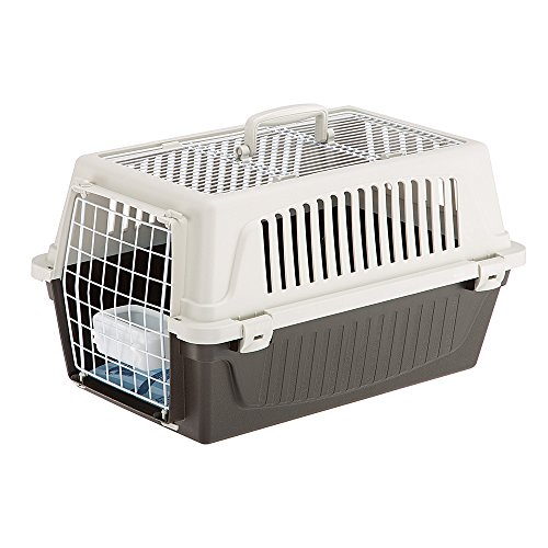 Ferplast Transportín Perros Pequeños y Gatos hasta 8 Kg Atlas 20 Open, Techo Aprible, Almohada y Cuenco Incluidos