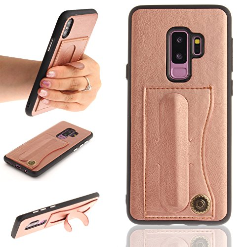 Klassikaline Coque Samsung Galaxy S9 Plus, Samsung Galaxy S9 Plus Téléphone Coque, Samsung Galaxy S9 Plus Étui, PU Cuir Coque Etui [avec la Fonction de Support] pour Samsung Galaxy S9 Plus - Or Rose
