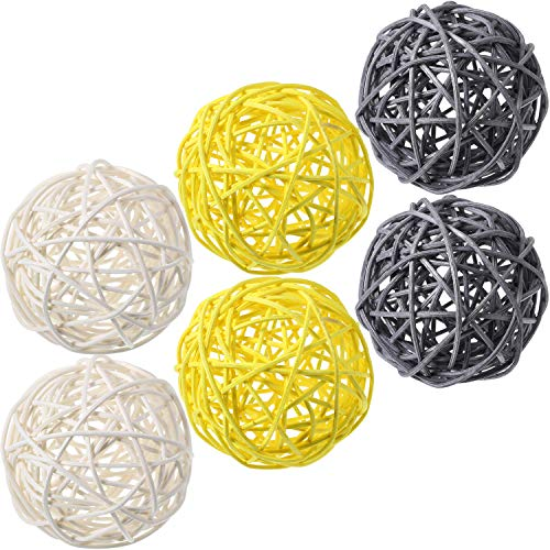 Yaomiao 6 Pieces Wicker Rattan Balls Decorative Orbs Vase Fillers for Craft, Party, Wedding Table Decoration, Baby Shower, Aromatherapy Accessories (Yellow Gray White)