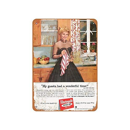 43LenaJon 1958 Judy Holliday, für Rheingold Bier Vintage Look Blechschild