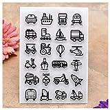 KWELLAM Sellos transparentes para decoración de tarjetas y álbumes de recortes de transporte para coche, barco o avión, motocicleta