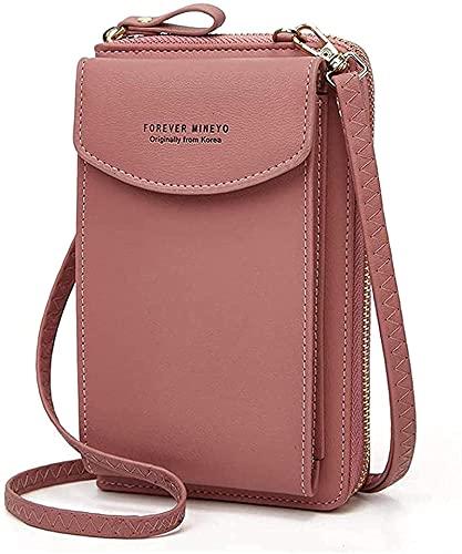 ZLYY Funda para teléfono móvil para mujer, bolso bandolera de piel sintética, con tarjetero compatible con Xiaomi Poco X3 Mi Note 10, color rosa