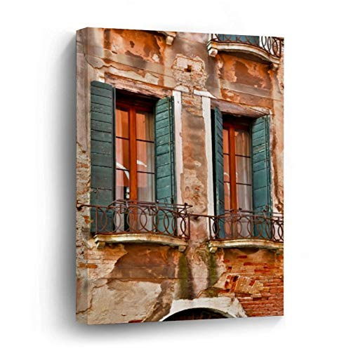 Window In Building of Venice Canvas Picture Painting Artwork Wall Art Poto Framed Canvas Prints for Bedroom Living Room Home Decoration, Ready to Hanging 24'x36'