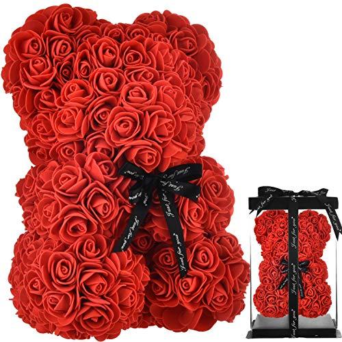 Rosen Teddybär Rosenbär Rosen bär Teddybär Rose Blumen deko Teddybär, Rosen Teddy Infinity Geschenke für Mutter Ihre Frauen Teen Mädchen Mütter Geschenke Valentinstag - rosenbär mit geschenkbox (rot)