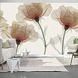 Fotomural 3D Flor amarilla en relieve 350x256 cm -7 piezas Papel Tapiz Mural Para Bar...