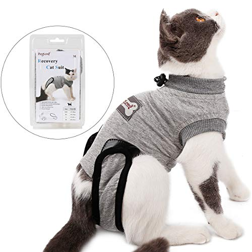 Tineer Pet Recovery Suit for Ablactation Bauchwunden Hautkrankheiten Chirurgie, Katze Sterilisation Pflege Baumwolle Atmungsaktiv Verhindern Lecken Tragen Entwöhnen (XXS)
