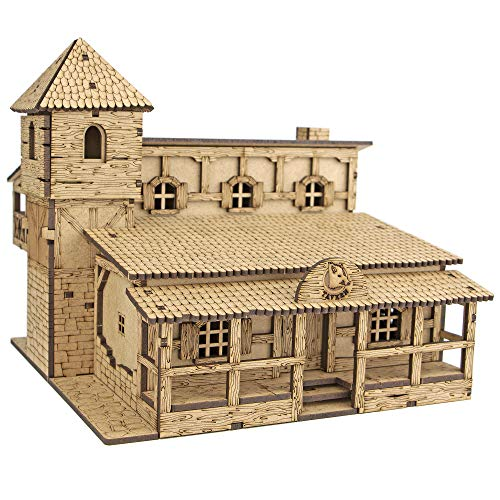 TowerRex Tavern D&D Miniatures Wooden Laser Cut Fantasy Terrain 28mm Scale for Dungeons & Dragons Pathfinder Other Tabletop RPG…