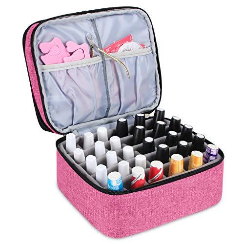 Luxja organizador de esmaltes de uñas, esmaltes de uñas estuche, porta esmaltes de uñas- Sostiene 30 botellas (15 ml - 0.5 fl.oz), bolsa de almacenamiento de doble capa para lacas y manicuras, Rosado