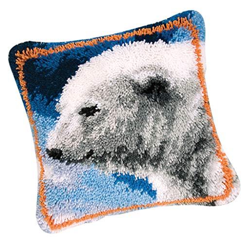 IPOTCH Tappeto a Gancio con Gancio per Cuscino Kit Punto Croce Federa per Cuscino Fatta a Mano 43x43 Cm - Polar Bear