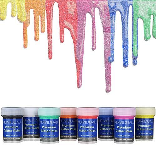 Individuall Premium Glitzerfarben 8er Set | Acryl Glitzerfarbe aus Deutschland | Farben mit Glitzereffekt für alle Oberflächen | Extrem hohe Pigmentierung | Für Künstler, Bastler und Kinder