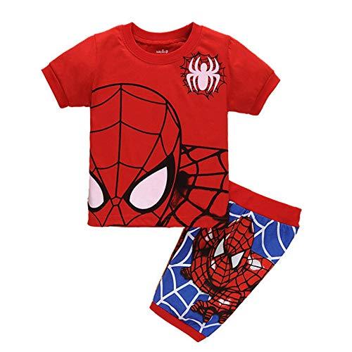 CDREAM Spiderman Manga Corta Pijamas Conjunto Ropa De Dormir Pijamas Conjunto Tamaño Para Niños 2-7 Años Pjs