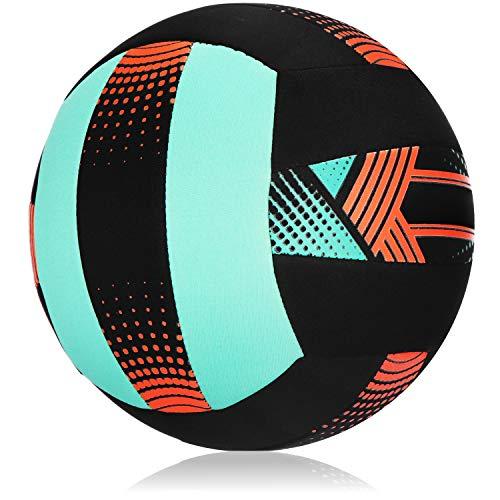com-four® Neopren-Strandball, wasserabweisender Volleyball für Garten, Urlaub und Outdoor-Aktivitäten, auch gut für Beach-Volleyball oder Freizeit-Fußball