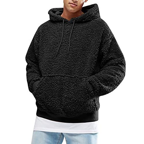 Gemijacka Mens Fluffy Sherpa Hoodie Long Sleeve Sherpa Sweatshirts Faux Fleece Pullover with Pockets