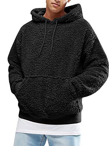Gemijacka Pullover Herren Hoodie Herren Kapuzenpullover Plüsch Hoodie Sweatshirt Teddy-Fleece Pullover mit Taschen, Schwarz, XXL