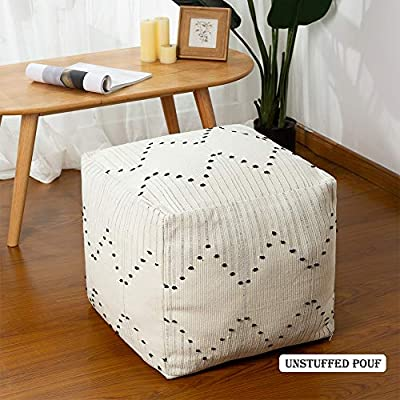 """Boho Unstuffed Pouf Cover for Living Room, Neutral Off White Casual Ottoman Pouf Footstool, Large Accent Farmhouse Decorative Funiture, Without Filler 17""""x17""""x15"""""""