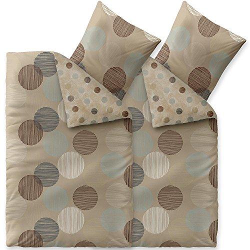 aqua-textil Trend Bettwäsche 135x200 cm 4tlg. Baumwolle Bettbezug Fara Punkte Beige Braun Türkis