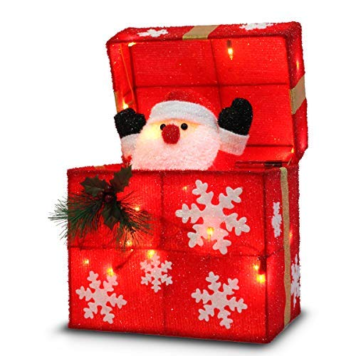 Later M 01 12' Gift Box Automatically Open, Santa, Built-in 18 LED Lights, Ip44 Water-Resistant, UL&CE Certificate, Decoration/Christmas Outdoor decorati, Red