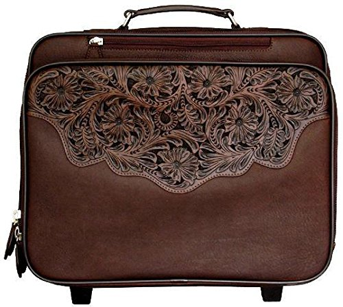 Western Chocolate Brown Tooled Leather Laptop Luggage