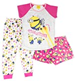 Despicable Me Girls Minion 3 Piece Short Sleeve, Short Leg Bottom and Long Pants Pajama Set, 100% Polyester, Pink, Girls Size 4/5