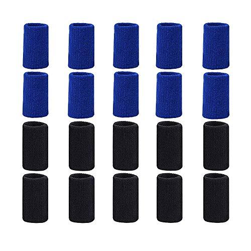 20 Pieces Finger Sleeves Elastische Kompressionsprotektoren für Arthritis Atmungsaktives elastisches Fingerband für Bergsteigen, Laufen, Basketball,Volleyball, Radfahren (10 Blau,10schwarz )
