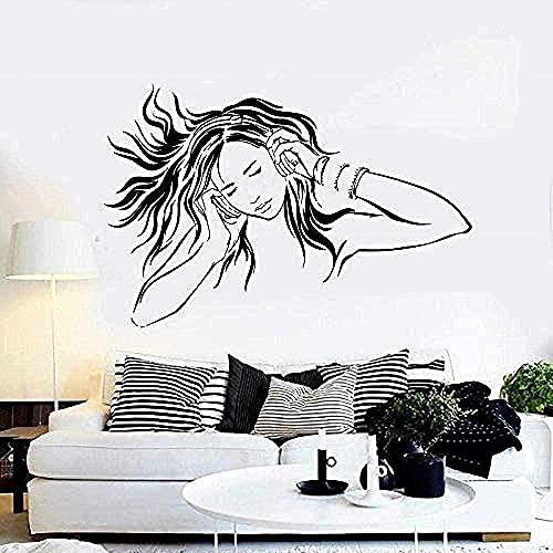 Pegatinas de pared de PVC pegatinas de pared para dormitorio de niñas música auriculares fans música tatuajes de pared-79x51cm