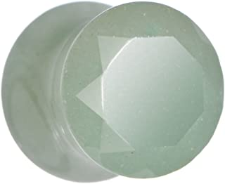 Body Candy 00G 2PC Faceted Green Aventurine Natural Stone Plugs Double Flare Plug Ear Plug Gauges