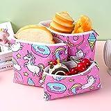 Sacchetti Imballaggio Sandwich Sacchetti Sandwich Riutilizzabili 3 Scatole per Il Pranzo di Diverse Dimensioni, Borsa Impermeabile, Cartone Animato Unicorno, per Conservare Biscotti, Spuntini