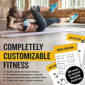 """Exercise Cards BODYWEIGHT - Home Gym Workout Personal Trainer Fitness Program Tones Core Ab Legs Glutes Chest Biceps Total Upper Body Workouts Calisthenics Training Routine (3.5""""x5"""", English Vol 1)"""