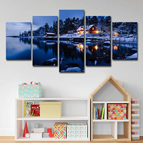 QJXX Wall Art Snowboard Winter Sport Canvas Print voor Home Decor Surprise Artwork Moderne Sneeuw Mountain Landscape Picture Ingelijst Klaar om op te hangen 5 stks/set