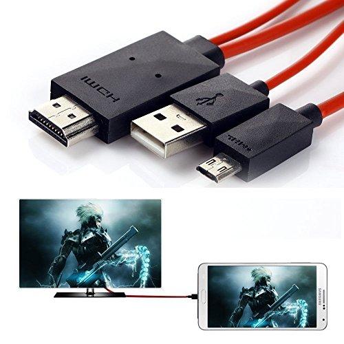 Cable adaptador de 11 pines micro USB a HDMI color rojo para conectar el móvil a la TV, HDTV de 1080p para Samsung Galaxy S5, S4, S3, Galaxy Tab 3 8.0, Tab 3 10.1, Tab Pro